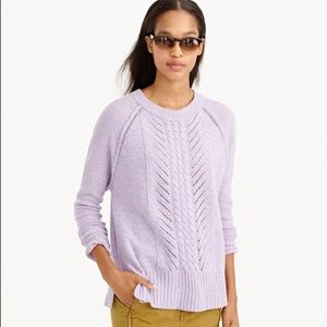 J. Crew purple wool pointelle cable knit sweater S